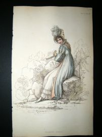 Ackermann 1814 Hand Col Regency Fashion Print. Walking Dress 14-23